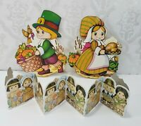 Lot 3 Vintage Beistle Paper Thanksgiving Pilgrims Wall Decorations Harvest Fall