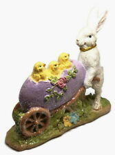 White Rabbit Pushing Egg with Baby Chicks Raz Imports Resin Easter Figurine