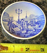 Denmark Blue & White Butter Pat Mini Plate Of Fish Market Old Strand Copenhagen