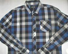 Zoo York Men's Shirt Button Down Casual Big Plaid Blue Black X Large Excellent
