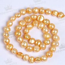 8-9mm Natural Fresh Water Pearl Golden Loose Bead Charm Jewelry Making DIY