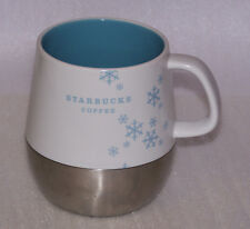 Starbucks Coffee Mug Cup Holiday White Blue Snowflakes Silver 2007 14 Ounce
