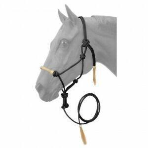 Tough-1 Black Horse Size Rawhide Noseband Rope Halter w/Lead 50-1050