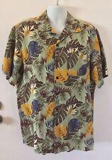 CARIBBEAN JOE Green Hawaiian Leaves Men's Casual Linen Blend Camp Shirt SMALL