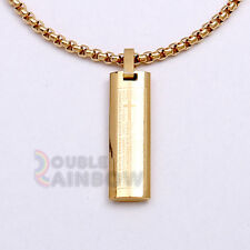 Men Stainless steel Gold Silver Lord Prayer Pendant 3.5mm Box Necklace Chain#17