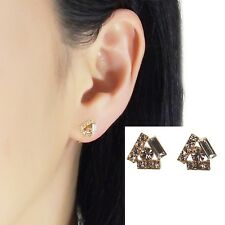 Swarovski Clip On Pink Triangle Rhinestone Crystal Invisible Stud Earrings