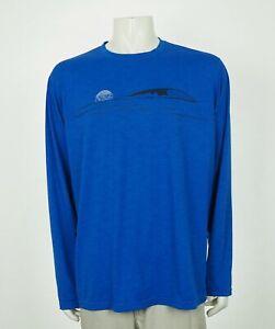 Prana Blue Blend Casual Hiking Travel Utility Tech Tee Shirt Mens XL