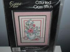 GOLDEN BEE Counted Cross Stitch Shells and Floral Vase 11 x 14 NEW