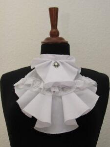 Jabot breit mit Gemme weiß Baumwolle Steampunk Victorian Gothic Rüschen Spitze