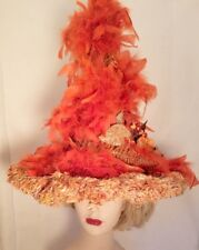 Halloween Hat totally Hand Made Yellow Burnt Orange and Gold Swirled up Hat