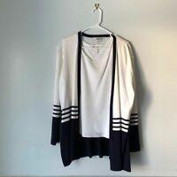 Exclusively Misook Women's Size XL White Black Stripe Knit Tank Sweater Cardigan