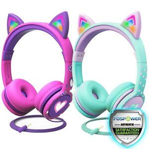 Kids 3.5mm Headphone Earphone On Ear Wired LED Cat Ears Stereo Headsets for Girl