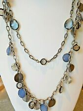 """Loft Necklace Antiqued Silver Tone Blue Bezel """"Crystals"""" Double Strand 25"""" N330"""