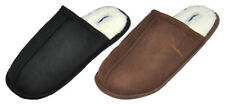Men's Slippers Cozy Open Back Anti-Slip Winter Fur Lined House Shoes TPR Sole