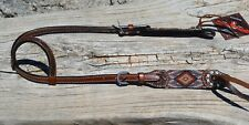 """Circle Y 5/8"""" Beaded One Ear Headstall White / Brown / Tan Overlay"""