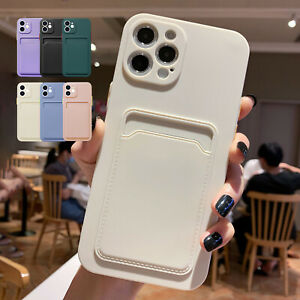 For iPhone 12 11 Pro Max XS X XR 7+ 8 SE2 Soft Liquid Silicone Wallet Case Cover