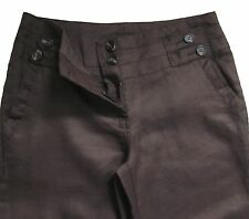 New Womens Brown Ramie NEXT Trousers Size 10 Long DEFECT