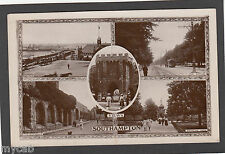 Postcard Southampton Hampshire early multiview with Pier and tram RP Kingsway