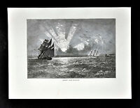 1872 Picturesque America Print - Sunset on Lake Michigan - Sailboats Tall Ships