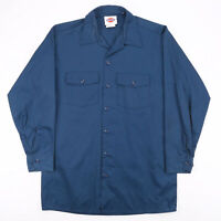 DICKIES  Blue Classic Long Sleeve Worker Shirt Mens L