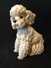 "Vintage Lefton Poodle Planter Vase White Ceramic Pottery 8"" Japan Dog H 7859"