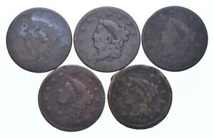Lot of 5 1817-1857 Early US Large Cent - Dateless - History You Can Hold! *596