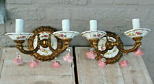 PAIR vintage French porcelain faience Wall lights sconces rose flowers