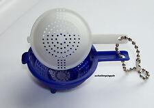 Tupperware Schlüsselanhänger Sieb SALADIN Blau Weiß Rarität NEU Keychain!