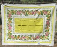 """Vintage Marlene Linens ML Tablecloth Camelia Flowers 53""""x70"""" New Old Stock W Tag"""