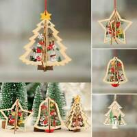 Xmas Wooden Christmas Tree Hanging Pendant Carving Wedding Party Decor Oranments