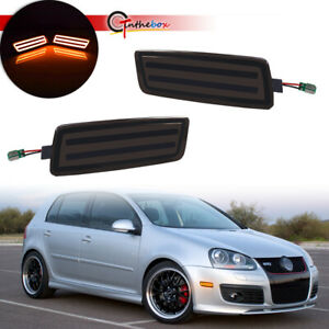 2PC Black Lens Front Side Marker Lights Amber LED Lamp For VW MK5 Golf/GTI 06-09