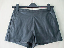 ladies BLACK PVC FAUX LEATHER SHORTS / HOTPANTS UK SIZE 10
