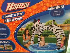 Banzai Shade N Sun Zebra Pool Big and Shady Kids Sunshade Canopy Fun New
