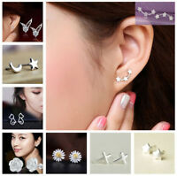 925 Sterling Silver 3 Star Stud Earrings Ear Jewellery Women Animal Elegant New