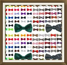 NEW Satin Bow Tie Dickie Bow Pre-Tied - Plain Striped Spotted Patterned ETC UK
