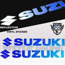 """PAIR 7""""FENDER FUEL GAS TANK STICKER REFLECTIVE LOGO VINYL DECAL SUZUKI BLUE GSXR"""