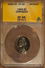 1959 5C Jefferson Head Nickel XF 45 Details ANACS 4528554 + Bonus