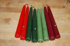 """Yankee Candle Unscented 8"""" Taper Candles BULK 12 Count Box Red Green Maroon NEW"""