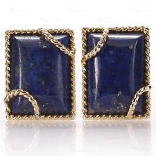 David Webb Retro 18k Yellow Gold Lapis Lazuli Clip-On Earrings