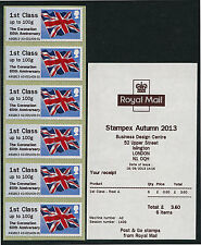 STAMPEX SEPT 2013 HYTECH TYPE III FLAG POST & GO CORONATION OVPT 6 x1st A2,B1,B2