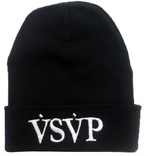 ALL SEASON BEANIE HAT **V.S.V.P VSVP** BLACK HAT WITH WHITE TEXT