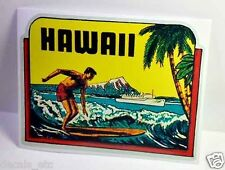 Hawaii Surfer Vintage Style Travel Decal / Vinyl Sticker Luggage Label
