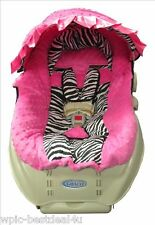 Hot Pink Minky and Zebra Baby/Toddler Car Seat Cover and Hood Cover - Version A