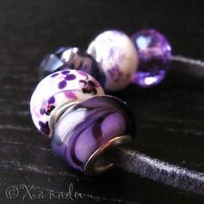 5PC Purple Lampwork Glass, Crystal, Porcelain Beads For European Charm Bracelets