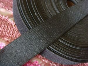 """2 yards black knitted wide  elastic band for skirt or pants 1 1/4"""" US SHIPPER"""