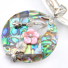 Gorgeous Handmade Natural Abalone Shell + Green Topaz Gems Silver Pendant 3 1/4""