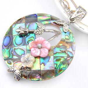 "Gorgeous Handmade Natural Abalone Shell + Green Topaz Gems Silver Pendant 3 1/4"""