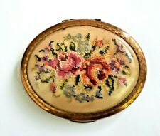 Vintage Kigu Oval Gold Tone Powder Compact With Petit Point Floral Lid.