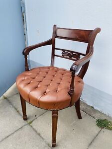 Englischer Schreibtischstuhl Chesterfield Leder Stuhl  Mahagoni Antik Sessel Geb