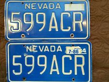 NEVADA  VINTAGE LICENSE PLATES Pair 599 ACR